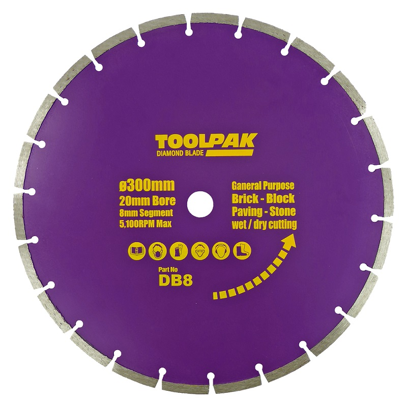 300mm x 20mm General Purpose Diamond Blade 8mm Segment