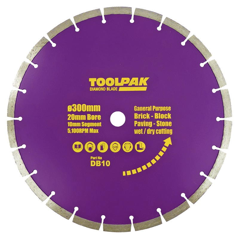300mm x 20mm General Purpose Diamond Blade 10mm Segment