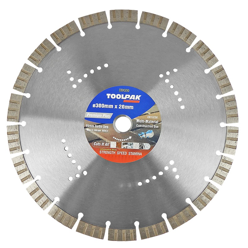 300mm x 20mm Multi-Material Diamond Blade 15mm Turbo Segment