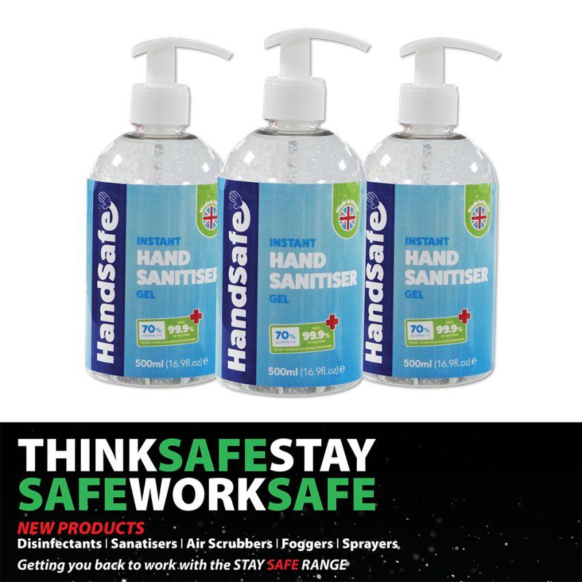 10 x Handsafe 500ml Gel Hand Sanitiser 70% Alcohol