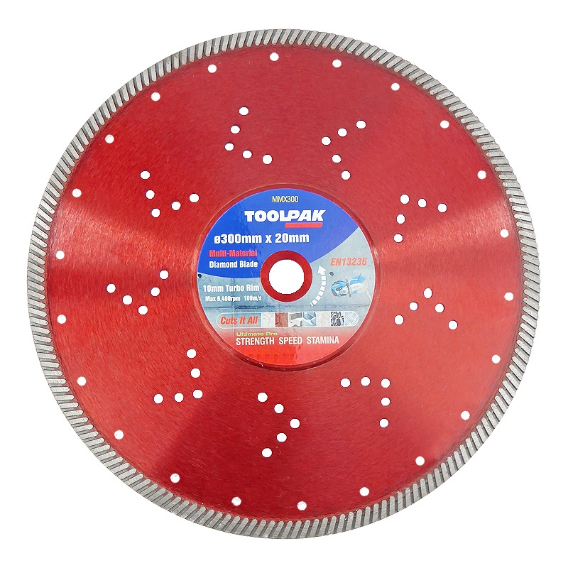 300mm x 20mm Multi-Material Diamond Blade 10mm Turbo Rim