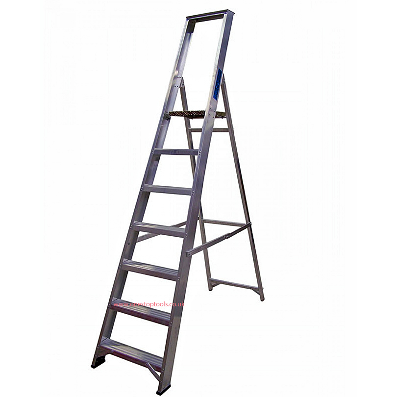 Lyte Ladders 7 Tread Industrial Platform Stepladder with Tool Tray