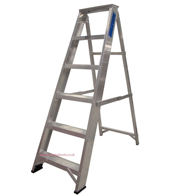 Lyte Ladders 7 Tread Industrial Swingback Stepladder with Tool Tray