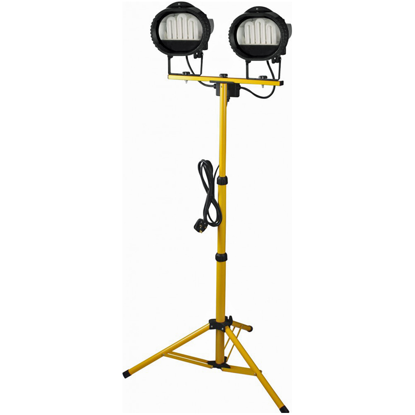 Powerman 500w Double Head Tungsten Halogen Telescopic Tripod Flood Light 240v